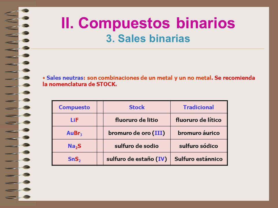 II. Compuestos binarios 3. Sales binarias Sales neutras: son combinaciones de un metal y un no metal. Se recomienda la nomenclatura de STOCK. Compuest