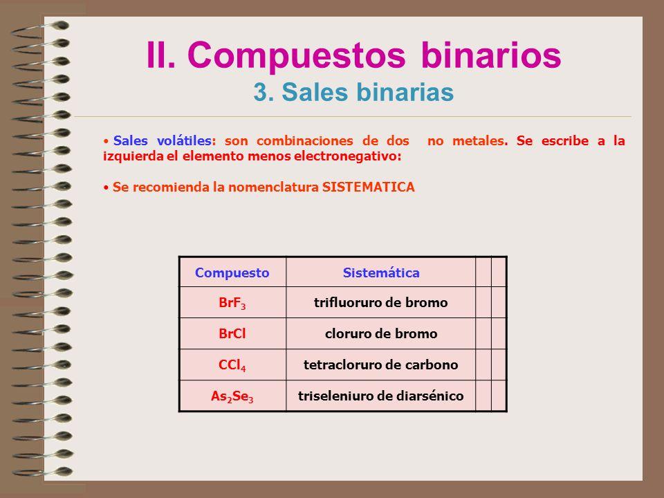II. Compuestos binarios 3. Sales binarias Sales volátiles: son combinaciones de dos no metales. Se escribe a la izquierda el elemento menos electroneg