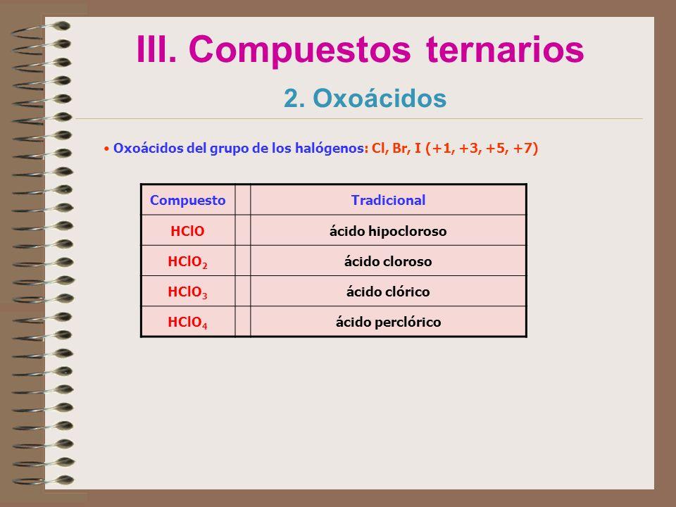 III. Compuestos ternarios 2. Oxoácidos Oxoácidos del grupo de los halógenos: Cl, Br, I (+1, +3, +5, +7) CompuestoTradicional HClOácido hipocloroso HCl