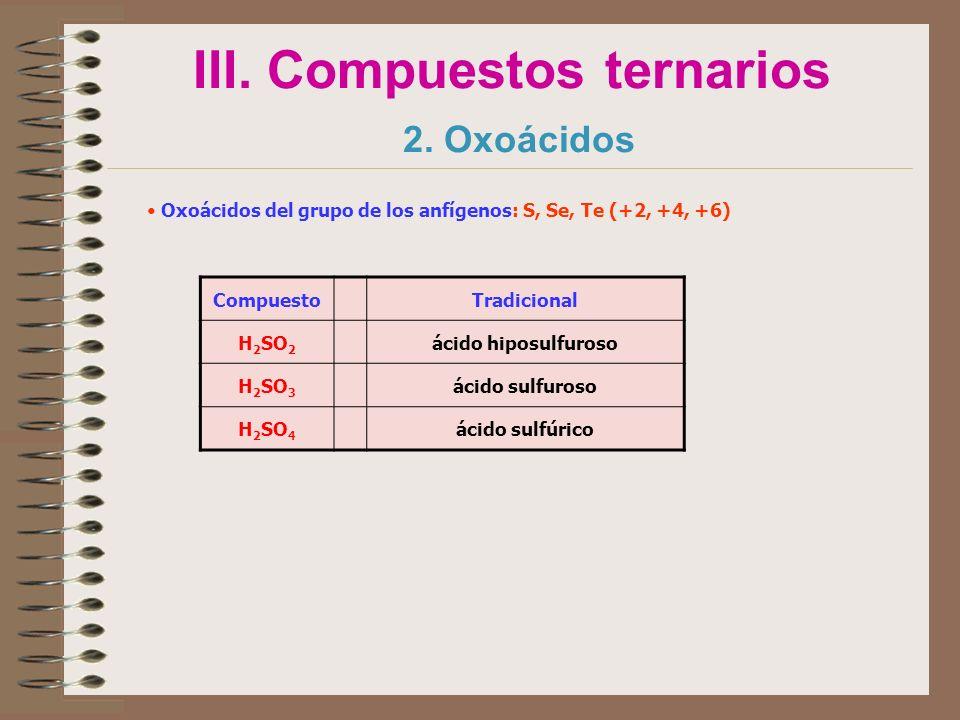 III. Compuestos ternarios 2. Oxoácidos Oxoácidos del grupo de los anfígenos: S, Se, Te (+2, +4, +6) CompuestoTradicional H 2 SO 2 ácido hiposulfuroso