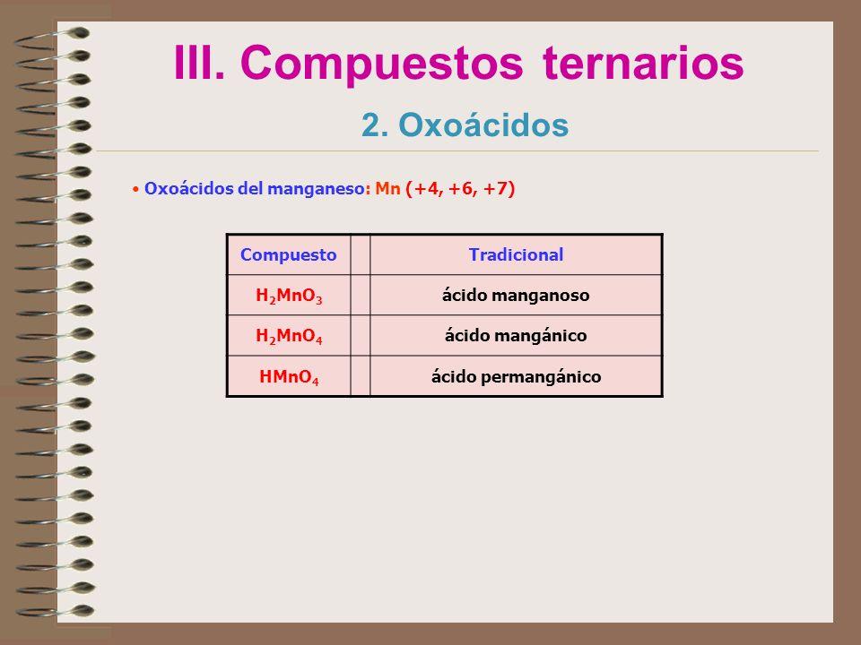 III. Compuestos ternarios 2. Oxoácidos Oxoácidos del manganeso: Mn (+4, +6, +7) CompuestoTradicional H 2 MnO 3 ácido manganoso H 2 MnO 4 ácido mangáni