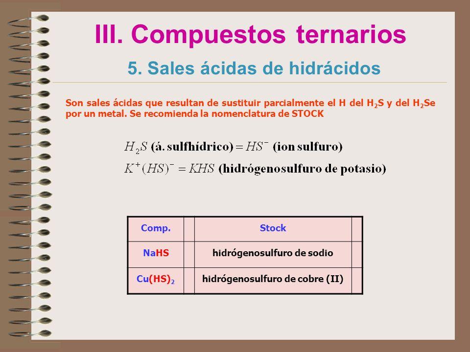 III. Compuestos ternarios 5. Sales ácidas de hidrácidos Comp.Stock NaHShidrógenosulfuro de sodio Cu(HS) 2 hidrógenosulfuro de cobre (II) Son sales áci
