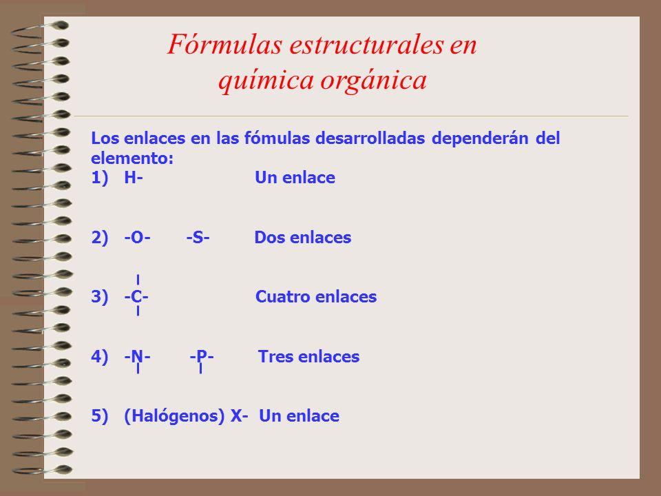 Fórmulas estructurales en química orgánica Los enlaces en las fómulas desarrolladas dependerán del elemento: 1)H- Un enlace 2)-O- -S- Dos enlaces 3)-C