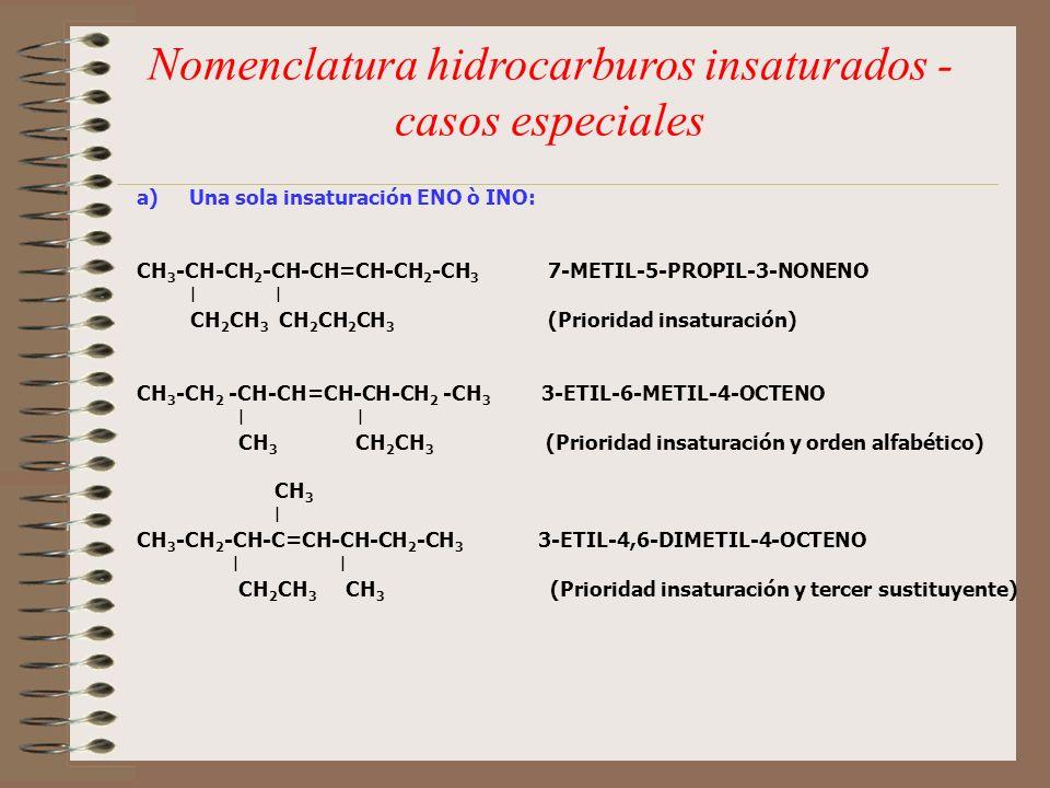 Nomenclatura hidrocarburos insaturados - casos especiales a)Una sola insaturación ENO ò INO: CH 3 -CH-CH 2 -CH-CH=CH-CH 2 -CH 3 7-METIL-5-PROPIL-3-NON