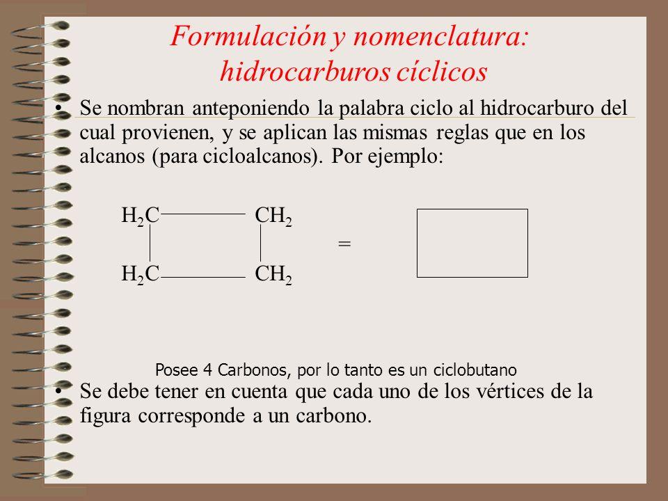 Se nombran anteponiendo la palabra ciclo al hidrocarburo del cual provienen, y se aplican las mismas reglas que en los alcanos (para cicloalcanos). Po