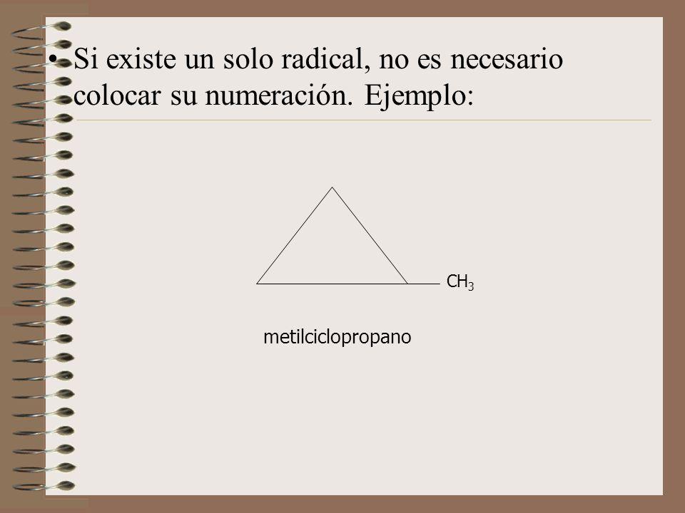 Si existe un solo radical, no es necesario colocar su numeración. Ejemplo: CH 3 metilciclopropano