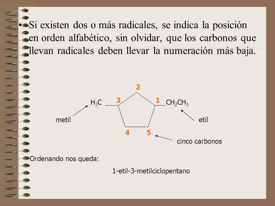 Si existen dos o más radicales, se indica la posición en orden alfabético, sin olvidar, que los carbonos que llevan radicales deben llevar la numeraci