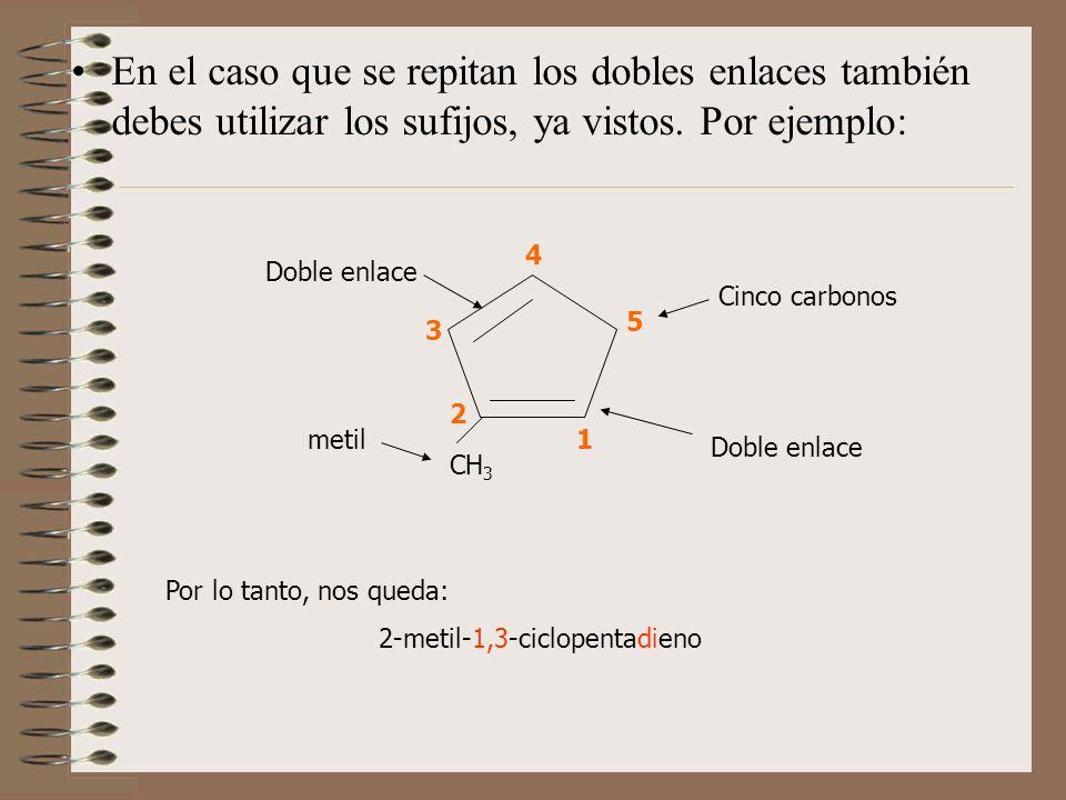 En el caso que se repitan los dobles enlaces también debes utilizar los sufijos, ya vistos. Por ejemplo: CH 3 1 2 3 4 5 Cinco carbonos Doble enlace me
