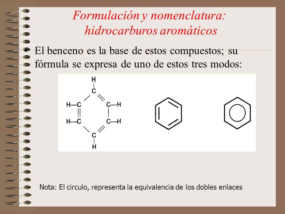 El benceno es la base de estos compuestos; su fórmula se expresa de uno de estos tres modos: Nota: El circulo, representa la equivalencia de los doble