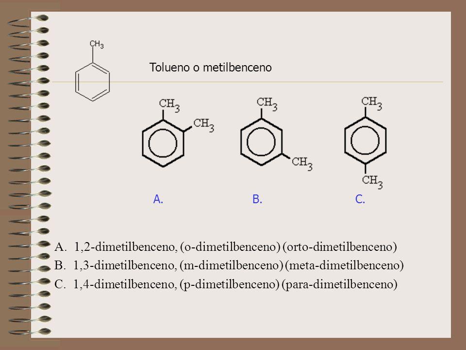 Tolueno o metilbenceno A. 1,2-dimetilbenceno, (o-dimetilbenceno) (orto-dimetilbenceno) B. 1,3-dimetilbenceno, (m-dimetilbenceno) (meta-dimetilbenceno)