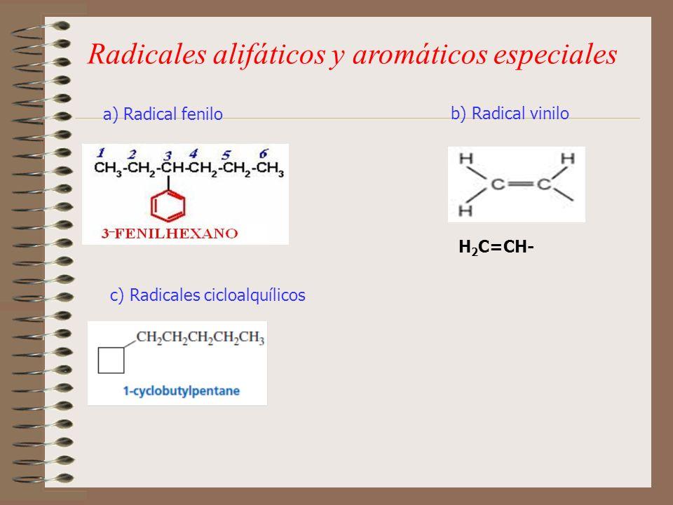 Radicales alifáticos y aromáticos especiales a) Radical fenilo b) Radical vinilo c) Radicales cicloalquílicos H 2 C=CH-