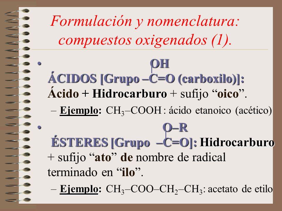 Formulación y nomenclatura: compuestos oxigenados (1). OH ÁCIDOS [Grupo –C=O (carboxilo)]: + Hidrocarburo OH ÁCIDOS [Grupo –C=O (carboxilo)]: Ácido +
