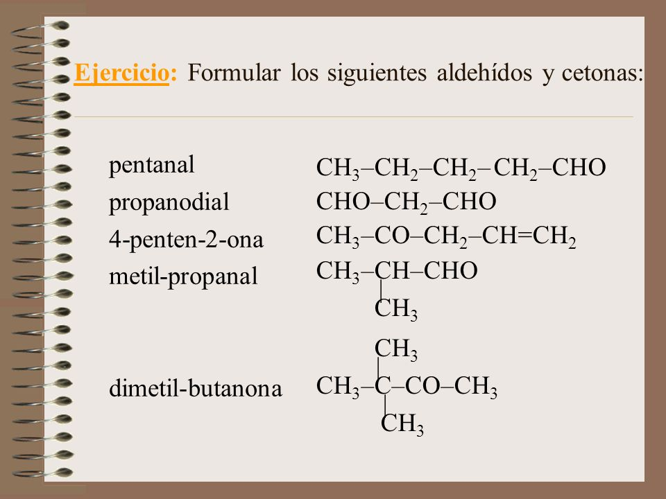CH 3 –CH 2 –CH 2 – CH 2 –CHO CHO–CH 2 –CHO CH 3 –CO–CH 2 –CH=CH 2 CH 3 –CH–CHO | CH 3 CH 3 | CH 3 –C–CO–CH 3 | CH 3 Ejercicio: Formular los siguientes