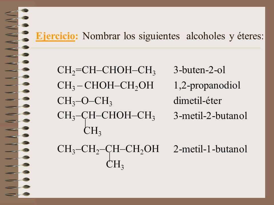 3-buten-2-ol 1,2-propanodiol dimetil-éter 3-metil-2-butanol 2-metil-1-butanol Ejercicio: Nombrar los siguientes alcoholes y éteres: CH 2 =CH–CHOH–CH 3