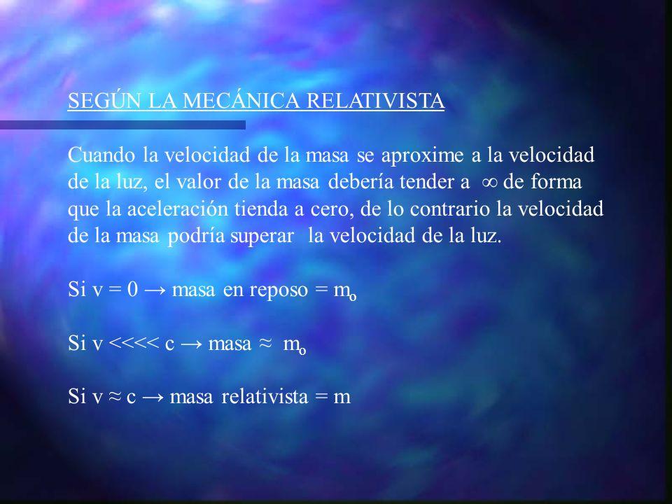 SEGÚN LA MECÁNICA RELATIVISTA Cuando la velocidad de la masa se aproxime a la velocidad de la luz, el valor de la masa debería tender a de forma que l