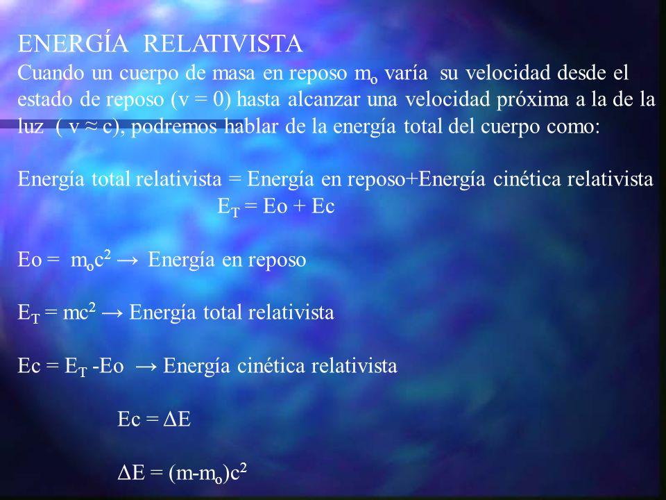 ENERGÍA RELATIVISTA Cuando un cuerpo de masa en reposo m o varía su velocidad desde el estado de reposo (v = 0) hasta alcanzar una velocidad próxima a