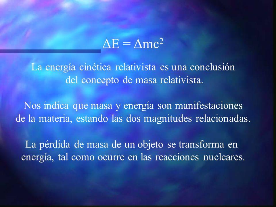 ΔE = Δmc 2 La energía cinética relativista es una conclusión del concepto de masa relativista. Nos indica que masa y energía son manifestaciones de la