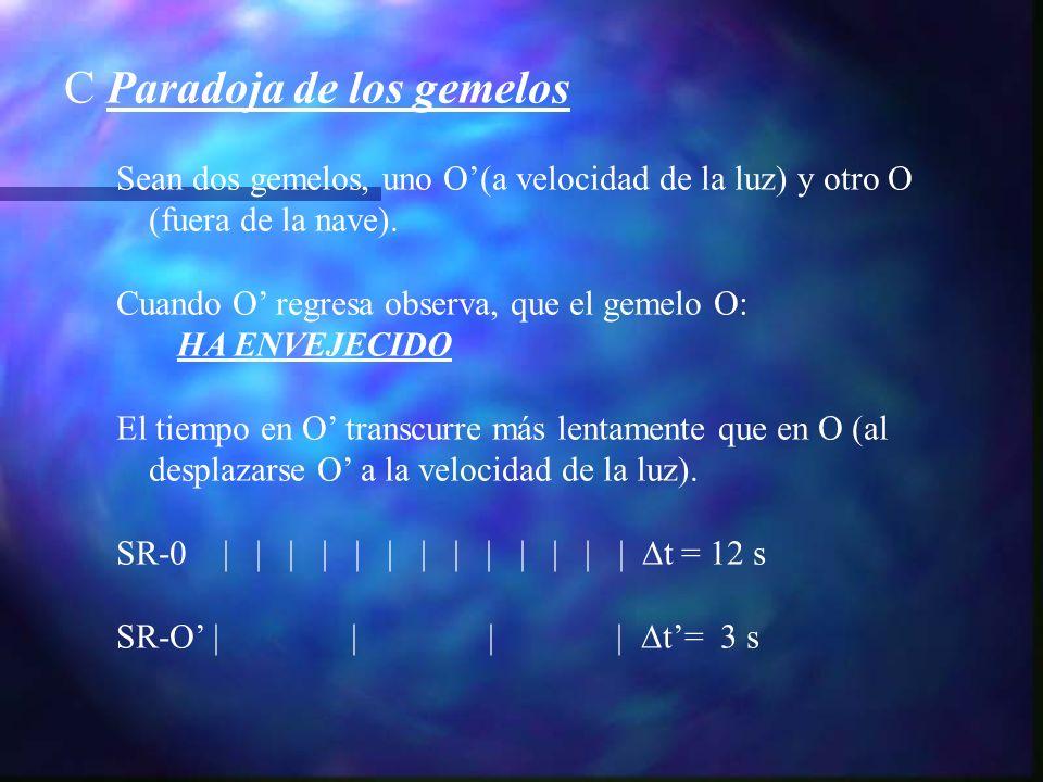 C Paradoja de los gemelos Sean dos gemelos, uno O(a velocidad de la luz) y otro O (fuera de la nave). Cuando O regresa observa, que el gemelo O: HA EN