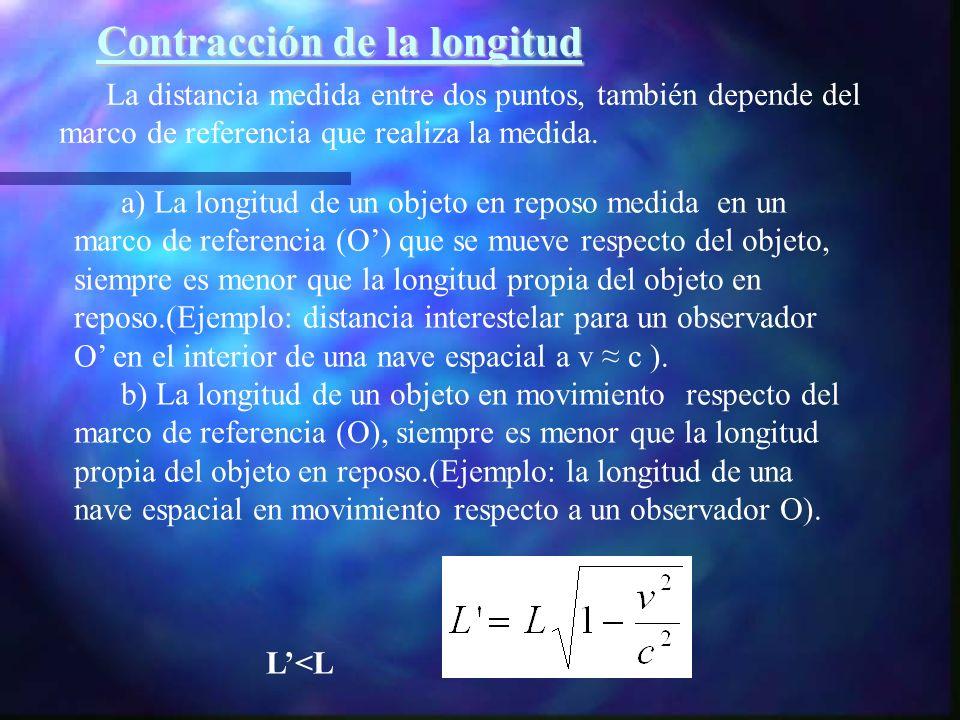 La distancia medida entre dos puntos, también depende del marco de referencia que realiza la medida. a) La longitud de un objeto en reposo medida en u