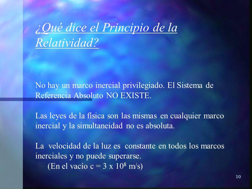10 ¿Qué dice el Principio de la Relatividad? No hay un marco inercial privilegiado. El Sistema de Referencia Absoluto NO EXISTE. Las leyes de la físic