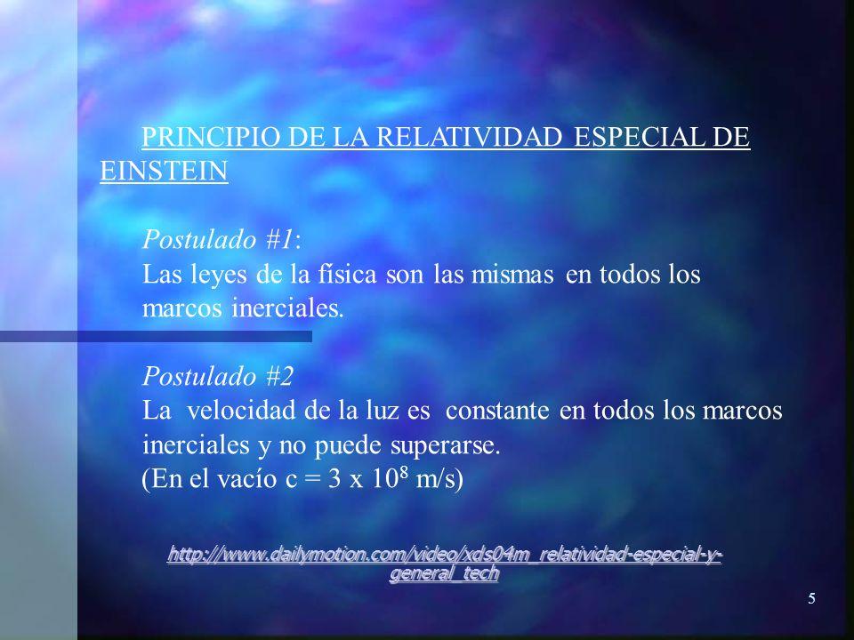 5 PRINCIPIO DE LA RELATIVIDAD ESPECIAL DE EINSTEIN Postulado #1: Las leyes de la física son las mismas en todos los marcos inerciales. Postulado #2 La