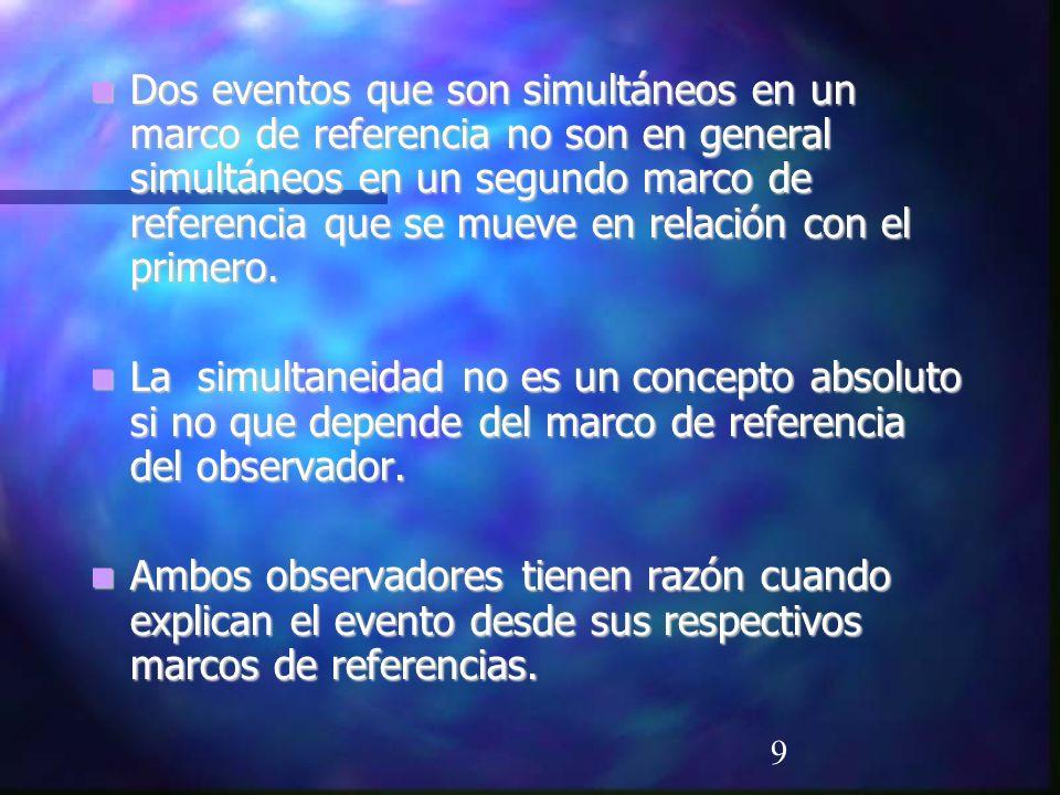 9 Dos eventos que son simultáneos en un marco de referencia no son en general simultáneos en un segundo marco de referencia que se mueve en relación c