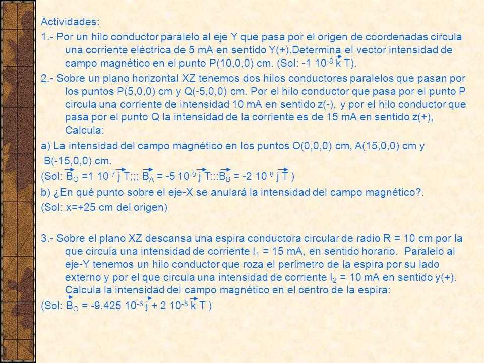 Actividades: 1.- Por un hilo conductor paralelo al eje Y que pasa por el origen de coordenadas circula una corriente eléctrica de 5 mA en sentido Y(+)