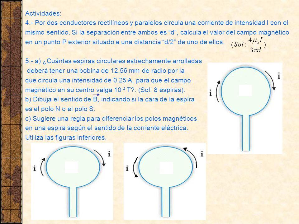 Actividades: 4.- Por dos conductores rectilíneos y paralelos circula una corriente de intensidad I con el mismo sentido. Si la separación entre ambos