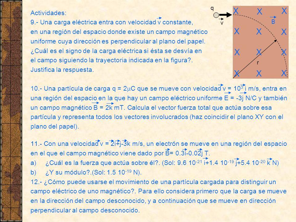 Actividades: 9.- Una carga eléctrica entra con velocidad v constante, en una región del espacio donde existe un campo magnético uniforme cuya direcció