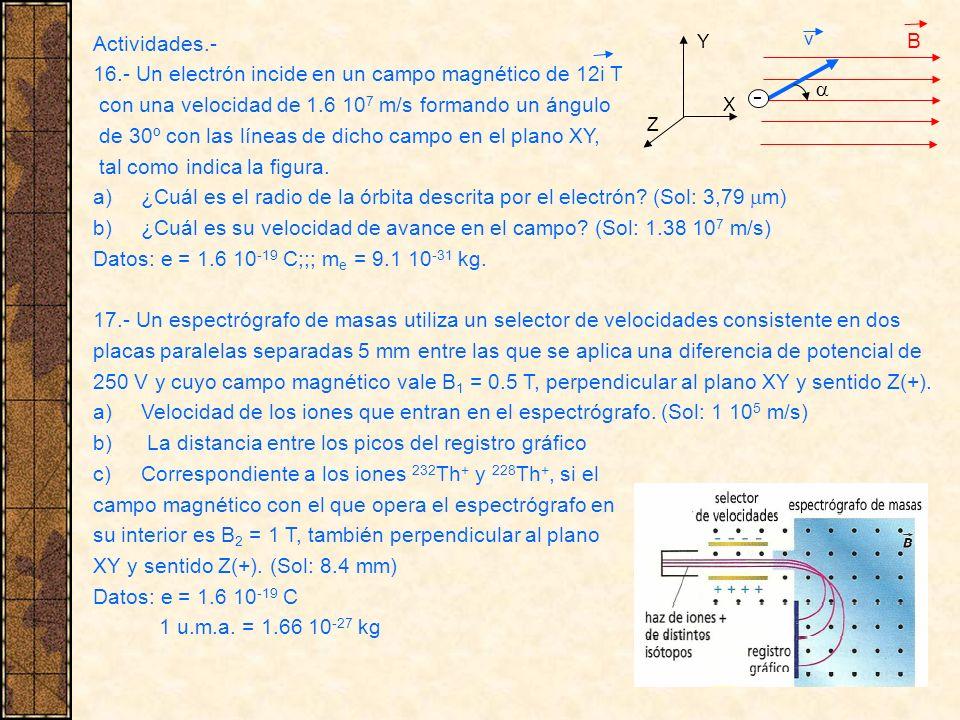 Actividades.- 16.- Un electrón incide en un campo magnético de 12i T con una velocidad de 1.6 10 7 m/s formando un ángulo de 30º con las líneas de dic