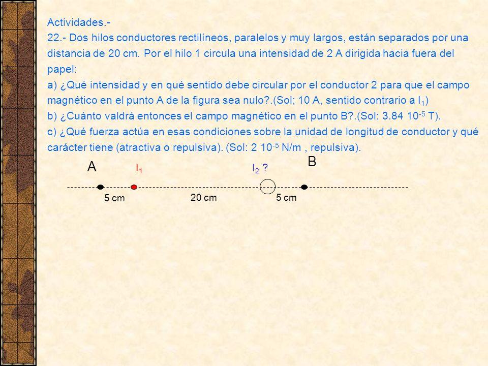 Actividades.- 22.- Dos hilos conductores rectilíneos, paralelos y muy largos, están separados por una distancia de 20 cm. Por el hilo 1 circula una in