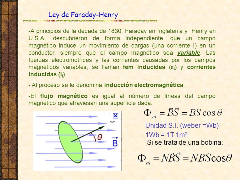 Ley de Faraday-Henry -A principios de la década de 1830, Faraday en Inglaterra y Henry en U.S.A., descubrieron de forma independiente, que un campo ma