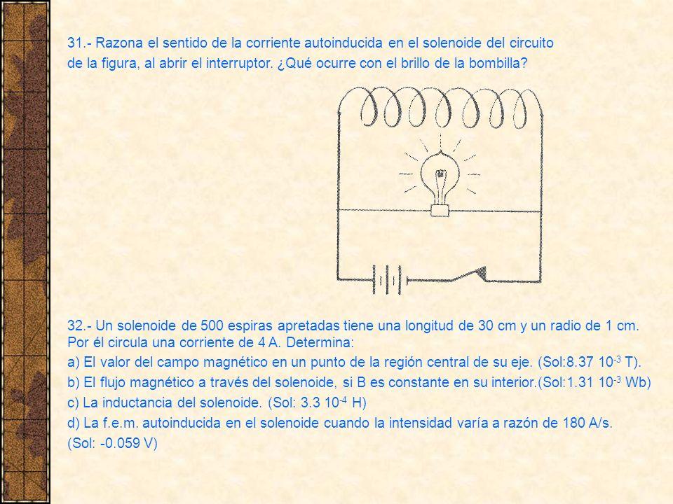 31.- Razona el sentido de la corriente autoinducida en el solenoide del circuito de la figura, al abrir el interruptor. ¿Qué ocurre con el brillo de l