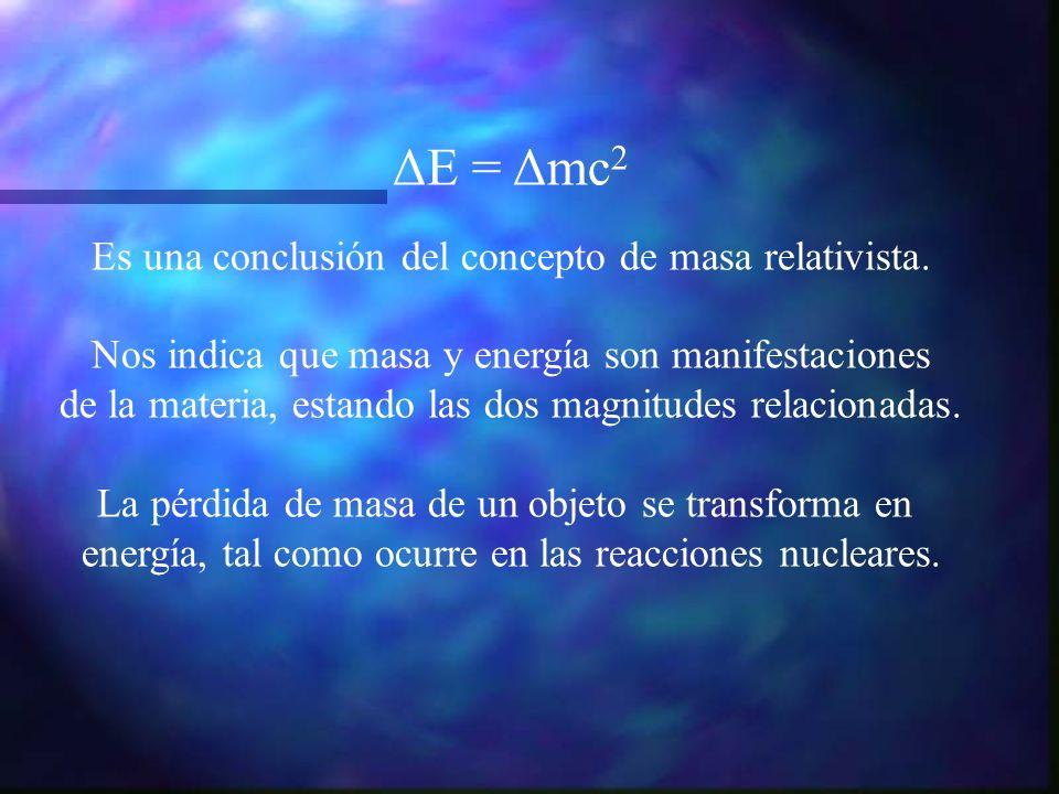 ΔE = Δmc 2 Es una conclusión del concepto de masa relativista. Nos indica que masa y energía son manifestaciones de la materia, estando las dos magnit