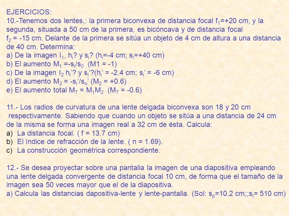 EJERCICIOS: 10.-Tenemos dos lentes,: la primera biconvexa de distancia focal f 1 =+20 cm, y la segunda, situada a 50 cm de la primera, es bicóncava y de distancia focal f 2 = -15 cm.