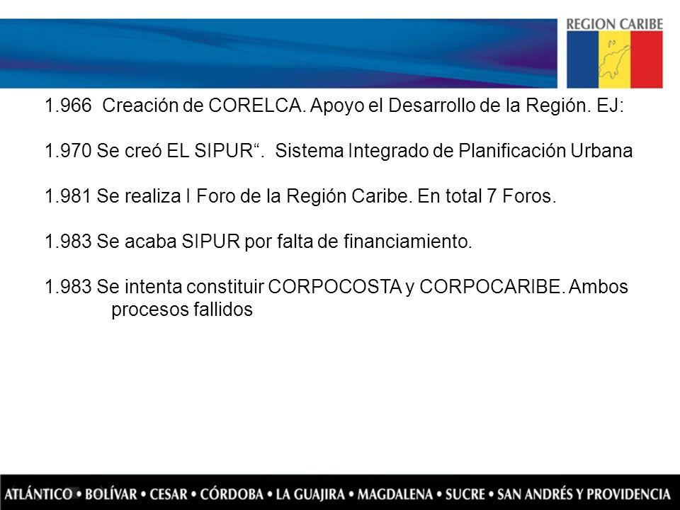 1.966 Creación de CORELCA. Apoyo el Desarrollo de la Región. EJ: 1.970 Se creó EL SIPUR. Sistema Integrado de Planificación Urbana 1.981 Se realiza I