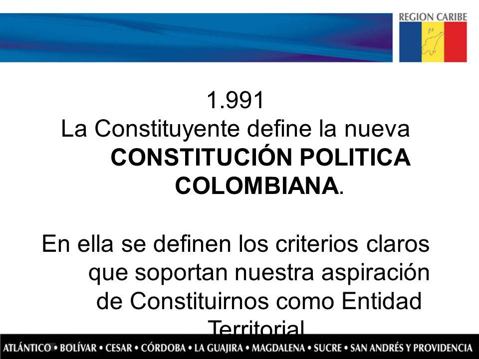 1.991 La Constituyente define la nueva CONSTITUCIÓN POLITICA COLOMBIANA. En ella se definen los criterios claros que soportan nuestra aspiración de Co