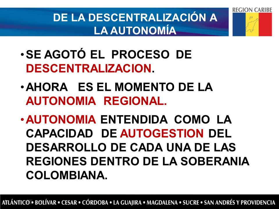 DE LA DESCENTRALIZACIÓN A LA AUTONOMÍA SE AGOTÓ EL PROCESO DE DESCENTRALIZACION. AHORA ES EL MOMENTO DE LA AUTONOMIA REGIONAL. AUTONOMIA ENTENDIDA COM