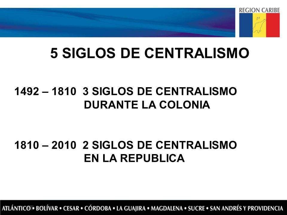 5 SIGLOS DE CENTRALISMO 1492 – 1810 3 SIGLOS DE CENTRALISMO DURANTE LA COLONIA 1810 – 2010 2 SIGLOS DE CENTRALISMO EN LA REPUBLICA