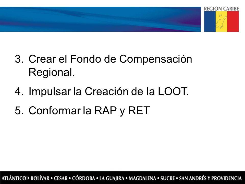 3.Crear el Fondo de Compensación Regional. 4.Impulsar la Creación de la LOOT. 5.Conformar la RAP y RET