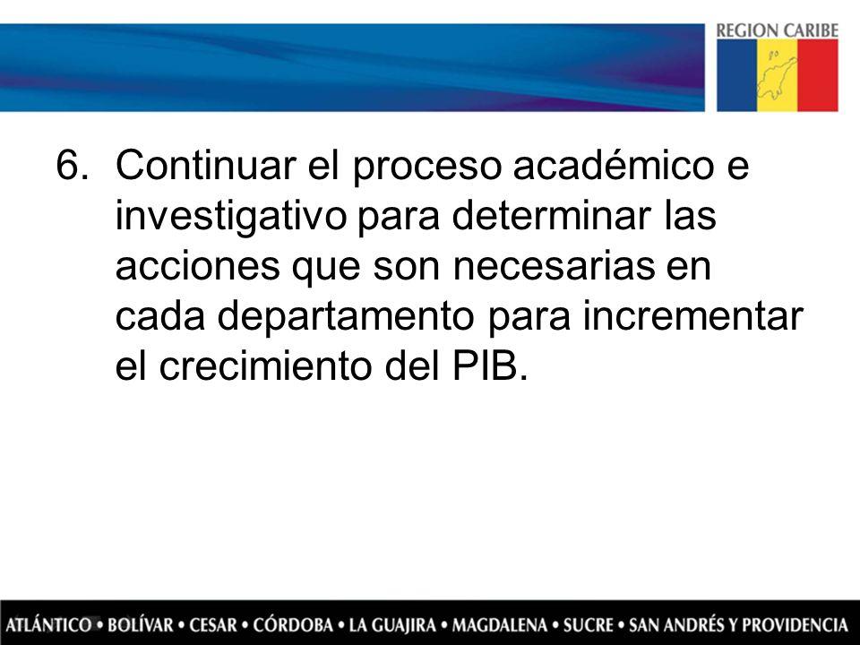 6.Continuar el proceso académico e investigativo para determinar las acciones que son necesarias en cada departamento para incrementar el crecimiento