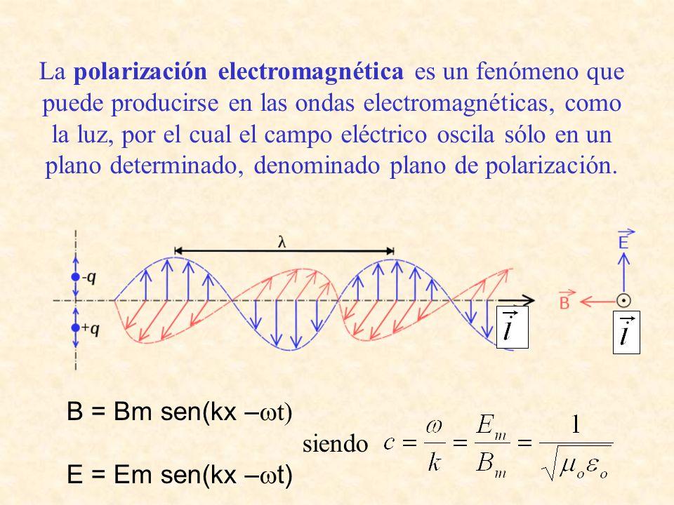La polarización electromagnética es un fenómeno que puede producirse en las ondas electromagnéticas, como la luz, por el cual el campo eléctrico oscil