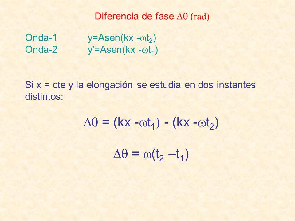 Diferencia de fase (rad) Onda-1 y=Asen(kx - t 2 ) Onda-2 y'=Asen(kx - t 1 ) Si x = cte y la elongación se estudia en dos instantes distintos: = (kx -