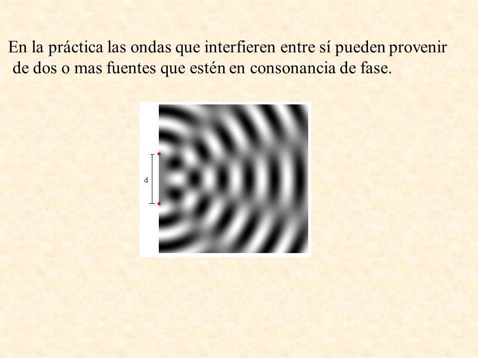En la práctica las ondas que interfieren entre sí pueden provenir de dos o mas fuentes que estén en consonancia de fase.