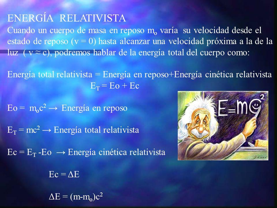 ΔE = Δmc 2 La energía cinética relativista es una conclusión del concepto de masa relativista.