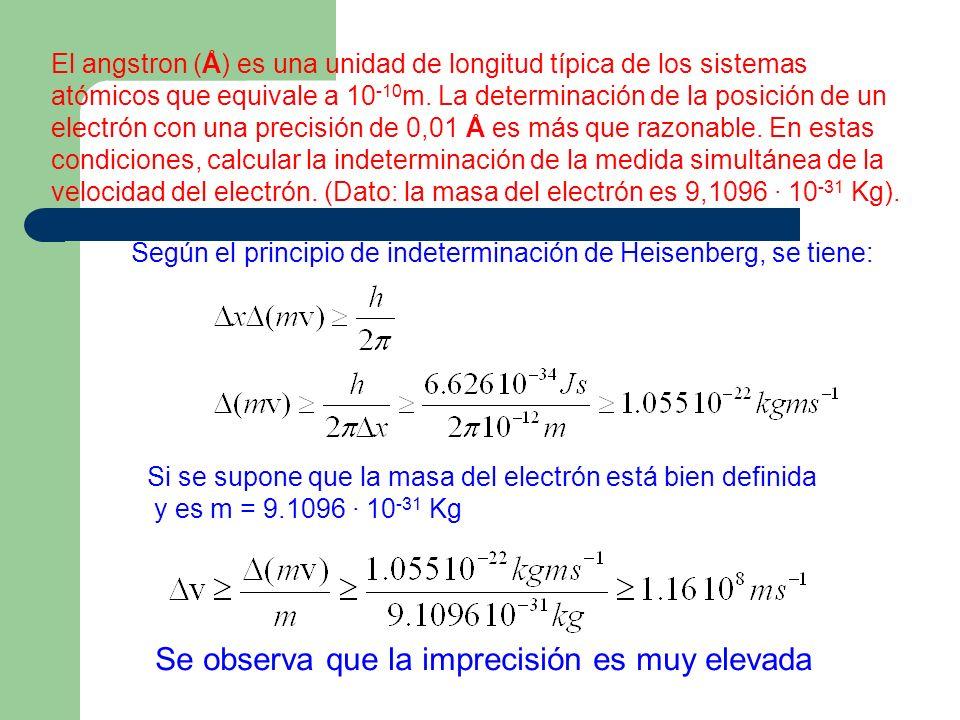 El angstron (Å) es una unidad de longitud típica de los sistemas atómicos que equivale a 10 -10 m. La determinación de la posición de un electrón con