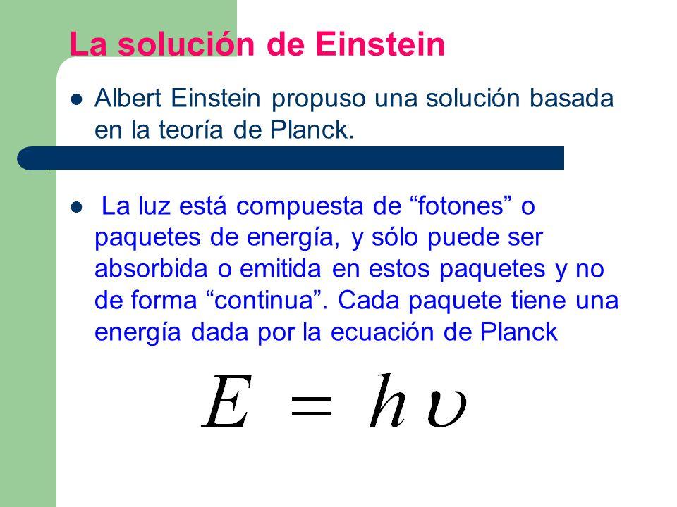 La solución de Einstein Albert Einstein propuso una solución basada en la teoría de Planck. La luz está compuesta de fotones o paquetes de energía, y
