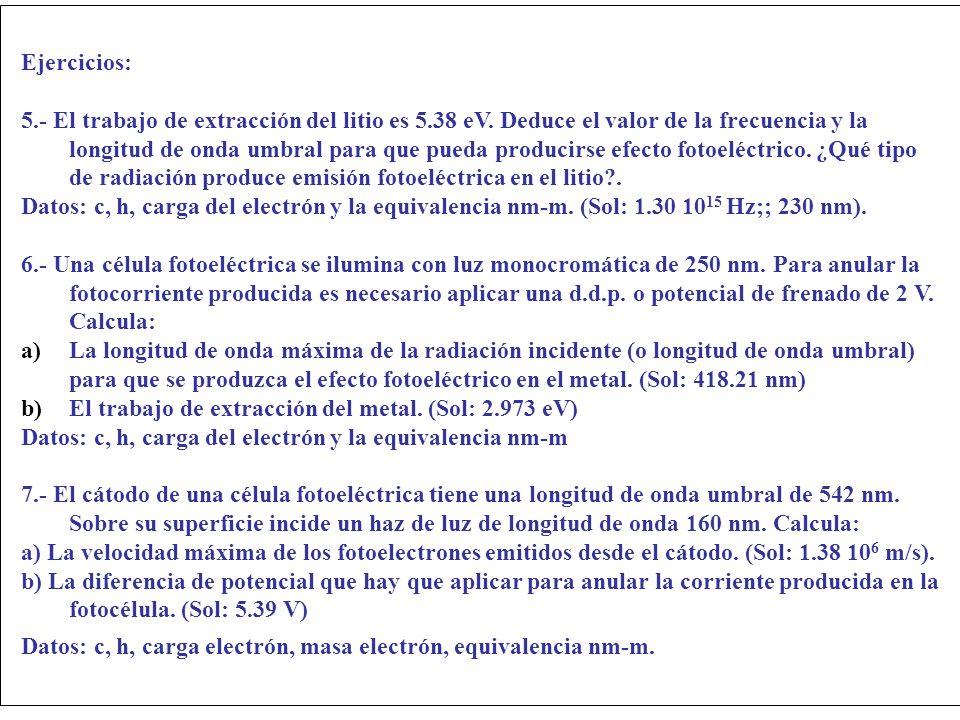 Ejercicios: 5.- El trabajo de extracción del litio es 5.38 eV. Deduce el valor de la frecuencia y la longitud de onda umbral para que pueda producirse