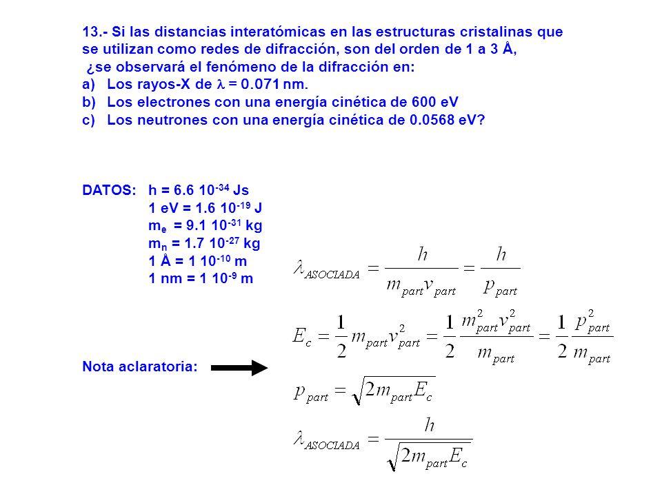 13.- Si las distancias interatómicas en las estructuras cristalinas que se utilizan como redes de difracción, son del orden de 1 a 3 Å, ¿se observará