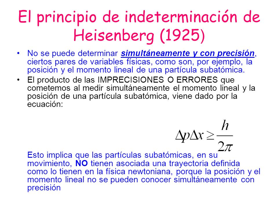El principio de indeterminación de Heisenberg (1925 ) No se puede determinar simultáneamente y con precisión, ciertos pares de variables físicas, como